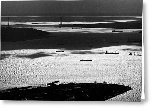 Governor Island Greeting Cards - Verrazano Narrows from the World Trade Centre Greeting Card by Gary Eason