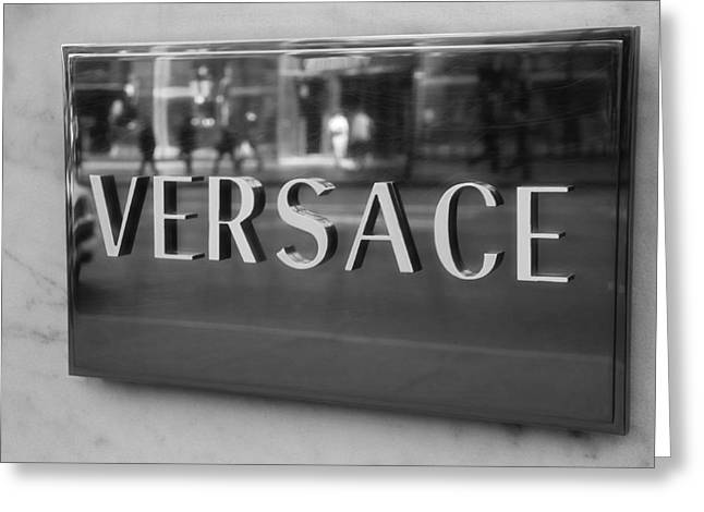 Italian Market Greeting Cards - Versace Black And White Greeting Card by Dan Sproul