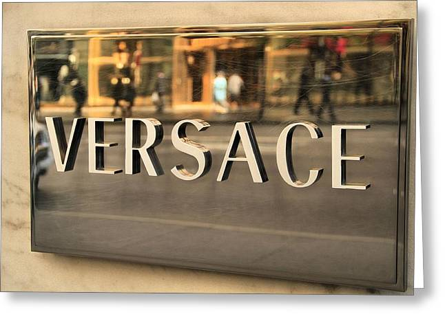 Celebrities Photographs Greeting Cards - Versace Greeting Card by Dan Sproul