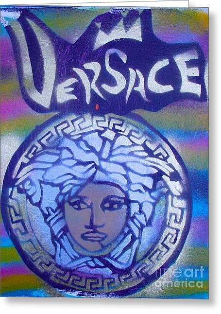 Versace Greeting Cards - Versace Rainbow Street art Greeting Card by Tony B Conscious