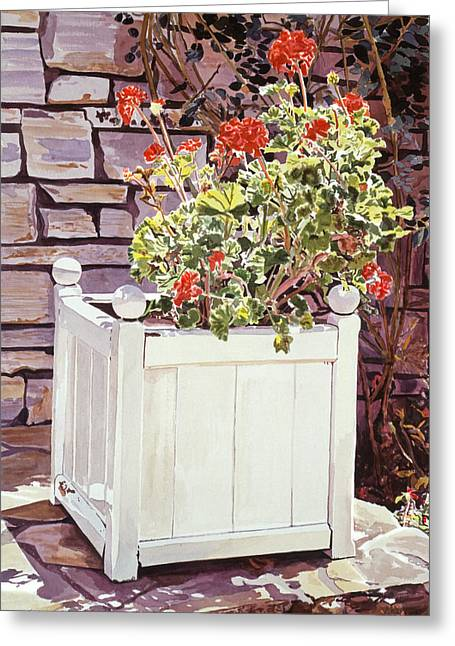 Stone Flower Planter Greeting Cards - Versaille Box Of Geraniums Greeting Card by David Lloyd Glover