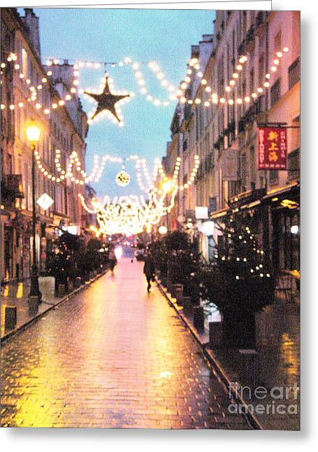 Versailles France Romantic Rainy Night Street Scene At Christmas Greeting Card by Kathy Fornal
