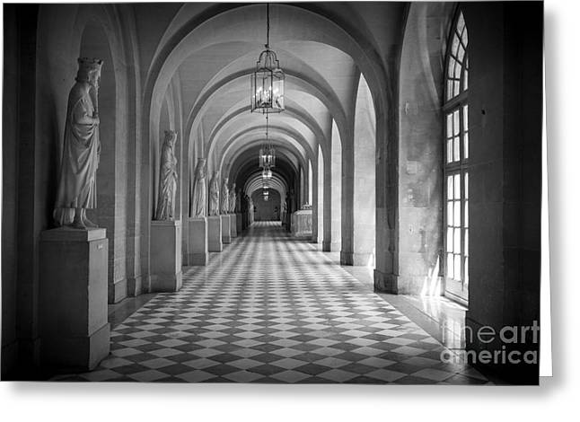 Opulence Greeting Cards - Versailles Hallway Greeting Card by Inge Johnsson