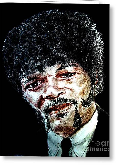 San Francisco Bay Mixed Media Greeting Cards - Version II of Samuel L. Jackson as Jules Winnfield in Pulp Fiction       Greeting Card by Jim Fitzpatrick