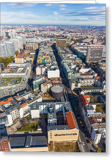Berliner Greeting Cards - Vertical Aerial View of Berlin Greeting Card by Semmick Photo