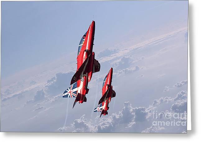 Red Tail Hawk Digital Art Greeting Cards - Vertical Arrows Greeting Card by J Biggadike