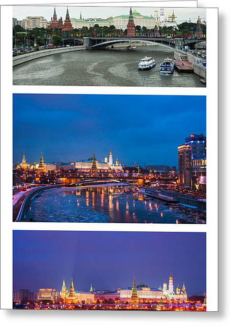Cupola Greeting Cards - Vertical Collage - Kremlin View - Featured 3 Greeting Card by Alexander Senin
