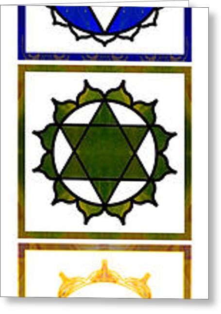 Sahasrara Greeting Cards - Vertical Columns Of Energy Abstract Chakra Art by Omaste Witkows Greeting Card by Omaste Witkowski