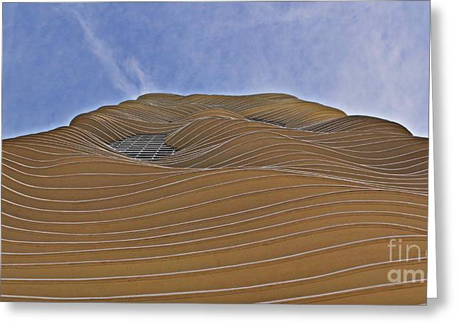 Curvilinear Greeting Cards - Vertical Dune - The Aqua Tower Greeting Card by Mary Machare