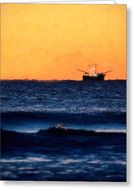 Fishing Trawler Greeting Cards - Vertical Fishing Trawler at Sunrise Greeting Card by Vicki Jauron