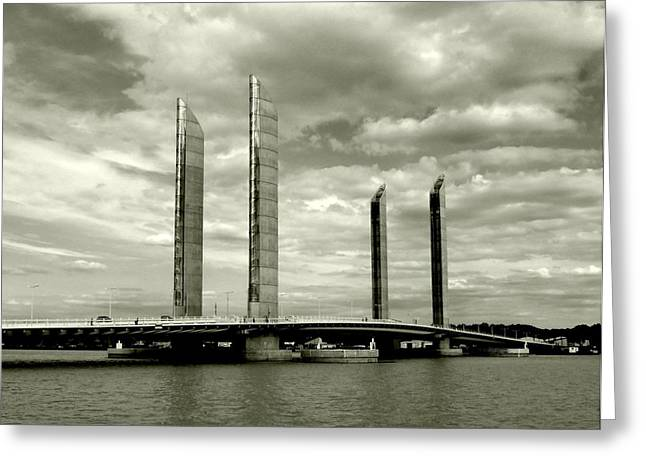 Bordeaux Greeting Cards - Vertical Lift Bridge Greeting Card by John Tidball