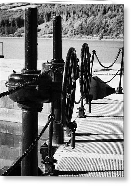 Lock Down Greeting Cards - Vertical Newry Ship Canal Lock Gates And Controls At The Newly Refurbished Victoria Lock At Carlingford Lough Greeting Card by Joe Fox
