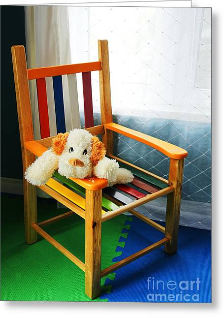 Missing Child Greeting Cards - Vertical of dog in kid chair. Greeting Card by Sylvie Bouchard