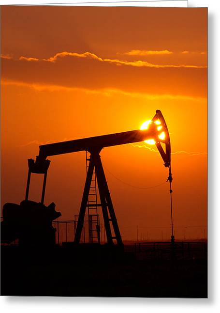 Intensity Greeting Cards - Vertical Oil Rig Sunset Greeting Card by Connie Cooper-Edwards
