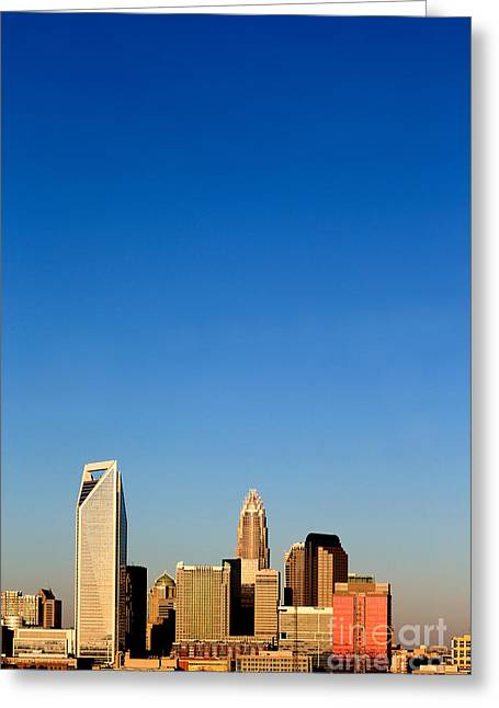 Charlotte Nc Photography Greeting Cards - Vertical skyline Charlotte NC Greeting Card by Patrick Schneider