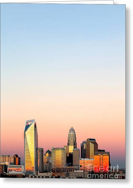 Charlotte Nc Photography Greeting Cards - Vertical skyline pink sky Charlotte NC Greeting Card by Patrick Schneider