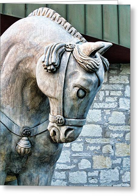 Wall Art Sculptures Greeting Cards - Verticale Sculptred Horse Greeting Card by Linda Phelps