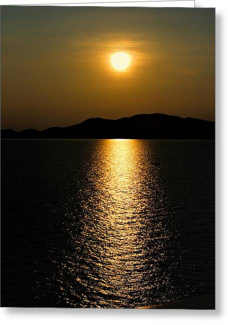 Refelctions Greeting Cards - Verticle Sunset on the Ocean Greeting Card by Linda Phelps