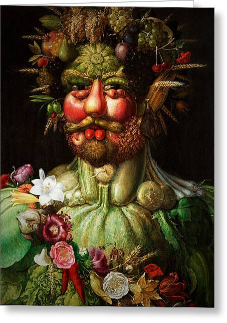 Green Beans Mixed Media Greeting Cards - Vertumnus Greeting Card by Giuseppe Arcimboldo