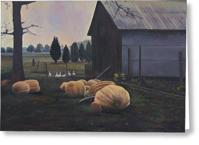 Md Paintings Greeting Cards - Very Big Pumpkins Greeting Card by David P Zippi