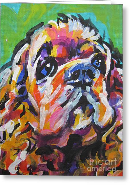 Cocker Spaniel Paintings Greeting Cards - Very Cocky Greeting Card by Lea