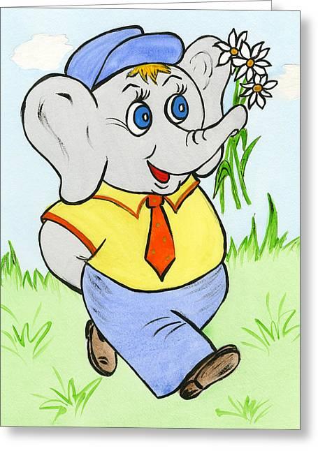 Elephant Seals Paintings Greeting Cards - Very Cute Little Elephant Boy Greeting Card by Irina Babayeva