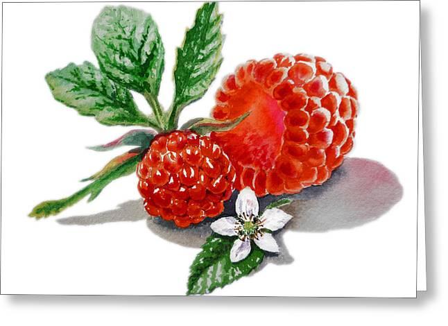 Artz Vitamins A Very Happy Raspberry Greeting Card by Irina Sztukowski