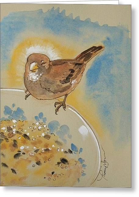 Brown Birds Greeting Cards - Very Happy Sparrow Greeting Card by Tracie Thompson