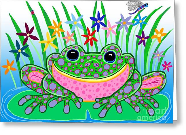 Dragon Lady Greeting Cards - Very Happy Spotted Frog Greeting Card by Nick Gustafson