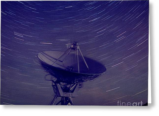 Rotation Greeting Cards - Very Large Array With Star Trails Greeting Card by John Chumack