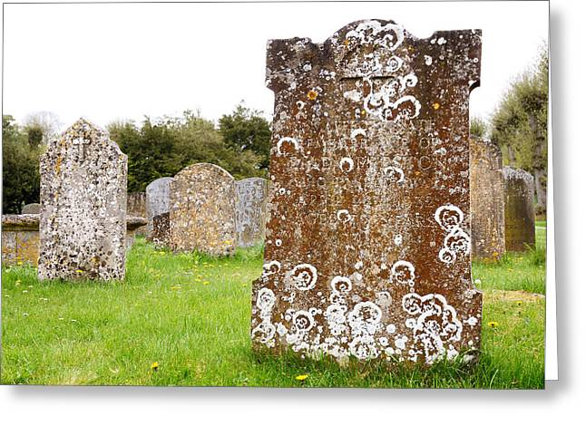 Headstones Photographs Greeting Cards - Very Old Headstone Greeting Card by Jim Hughes