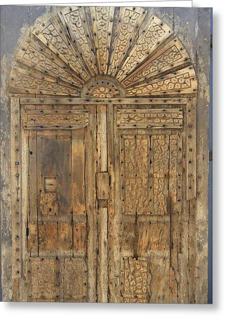 English Greeting Cards - Very old wooden English castle door Greeting Card by Geoff Ford