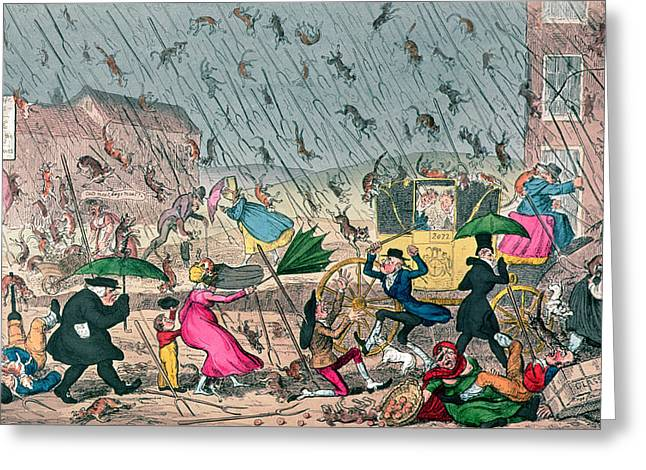 Umbrella Drawings Greeting Cards - Very Unpleasant Weather Greeting Card by George Cruikshank