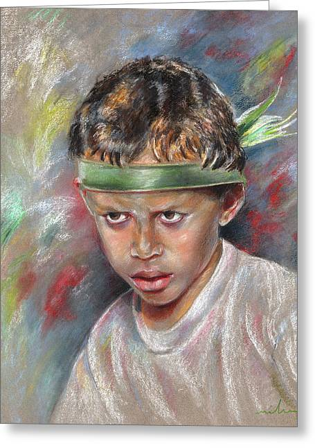 Festivities Drawings Greeting Cards - Very Young Maori Warrior from Tahiti Greeting Card by Miki De Goodaboom