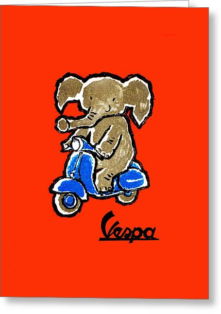 Scooter Greeting Cards - Vespa 1961 Greeting Card by Mark Rogan
