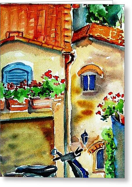 The Uffizi Greeting Cards - Vespa in Tuscany  Greeting Card by Trudi Doyle