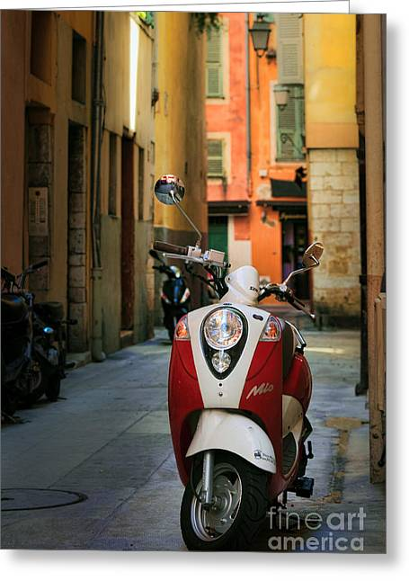 Cote Greeting Cards - Vespa Nicoise  Greeting Card by Inge Johnsson