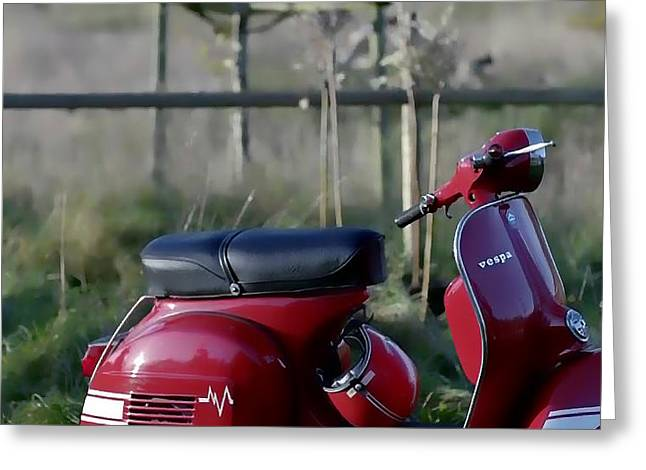 Conditions Mixed Media Greeting Cards - VESPA - Red Dream Greeting Card by Nenad  Cerovic