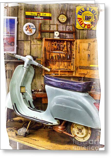 Mobile Designs Greeting Cards - Vespa Scooter Greeting Card by Heiko Koehrer-Wagner