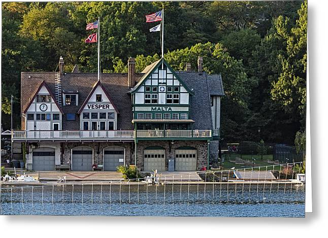 Iconic Greeting Cards - Vesper and Malta Boat Clubs Boathouse Row Greeting Card by Susan Candelario