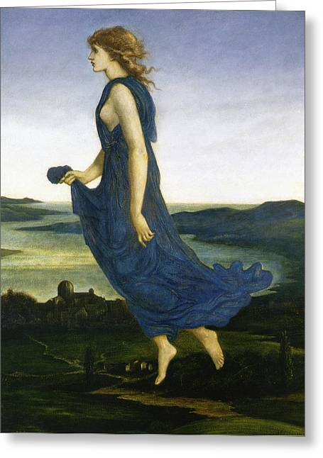 Evening Dress Digital Art Greeting Cards - Vesper The Evening Star Greeting Card by Edward Burne Jones