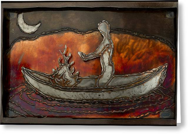 Fire Reliefs Greeting Cards - Canoe Greeting Card by Chip Vander Wier