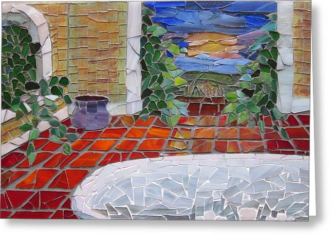 Sunset Glass Art Greeting Cards - Vessel II Greeting Card by Kelly Christopher