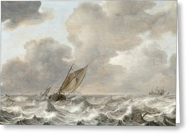 Water Vessels Digital Art Greeting Cards - Vessels In Moderate Breeze Greeting Card by Jan Porcellis