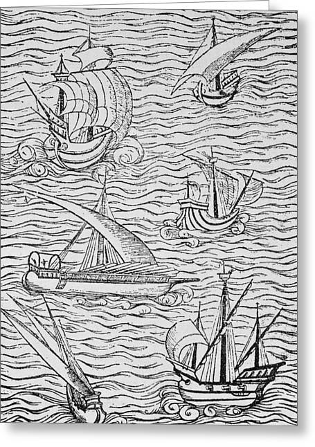 Ships And Boats Greeting Cards - Vessels of Early Spanish Navigators from The Narrative and Critical History of American Greeting Card by English School