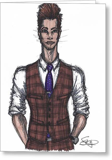 Menswear Greeting Cards - Vest and Tie Greeting Card by SKIP Smith