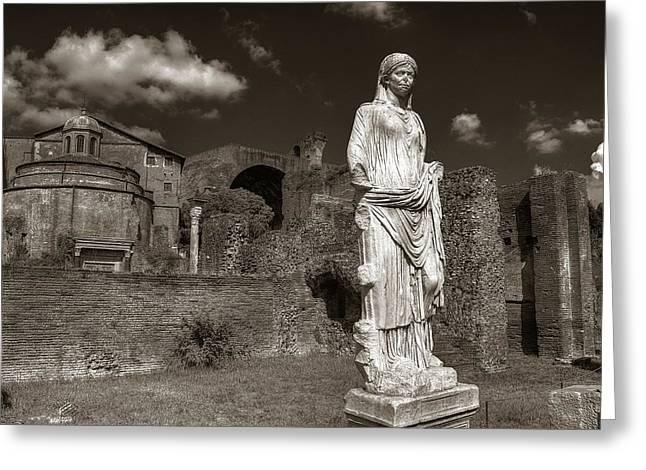 Vestal Greeting Cards - Vestal Virgin Courtyard Statue Greeting Card by Michael Kirk