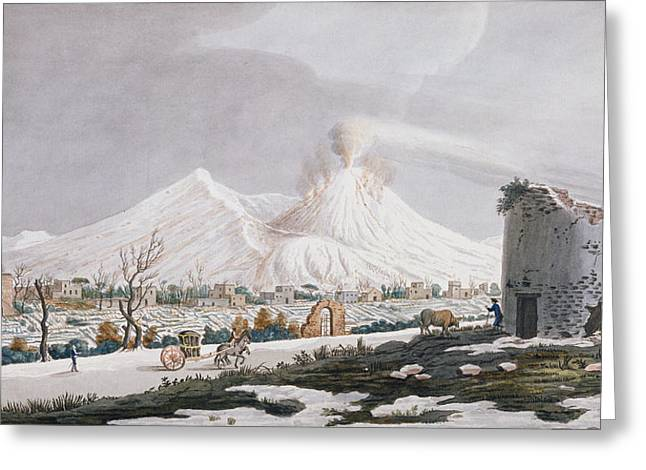 Italian Landscapes Drawings Greeting Cards - Vesuvius In Snow, Plate V From Campi Greeting Card by Pietro Fabris