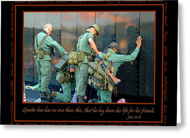 Man Photographs Greeting Cards - Veterans at Vietnam Wall Greeting Card by Carolyn Marshall