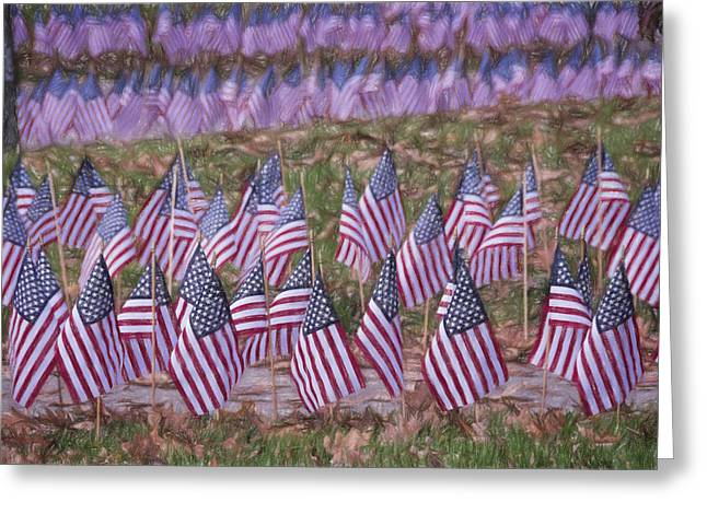 University School Greeting Cards - Veterans Day Display Color Greeting Card by Joan Carroll